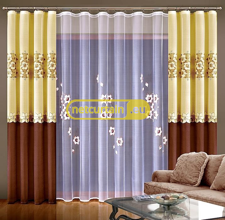 NET CURTAINS AND CURTAINS FOR LIVING ROOM HAND PAINTED 2 COLOURS, N542 Part 64