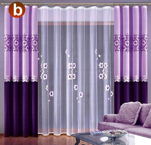 NET CURTAINS AND CURTAINS FOR LIVING ROOM HAND PAINTED 2 COLOURS, N542