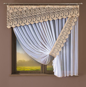 MARQUISETTE NET CURTAIN AND JACQUARD VALANCE width 220 cm, height 180 cm, N93