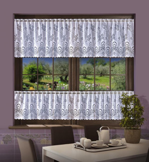 CAFE CURTAINS BY THE METRE height 40 or 60 cm, N348