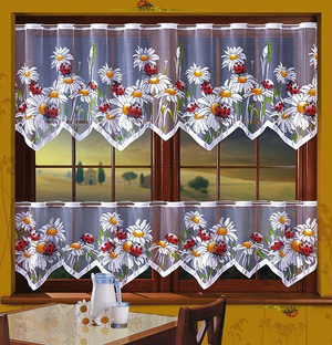 KITCHEN NET CURTAINS BY THE METRE height 50, 70, 150 cm, N516