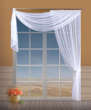 LIVING ROOM VEIL CRASH NET CURTAIN width 200 cm, height 250 cm, OR SEWN TO SIZE, CREAMY, N762