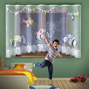 HAND PAINTED NET CURTAIN FOR CHILDREN'S ROOM width 300 cm, height 160 cm, N1005
