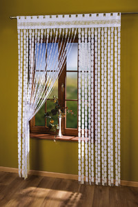WHITE STRING CURTAIN PANEL FOR THE LIVING ROOM width 150 cm, length 250 cm, N100