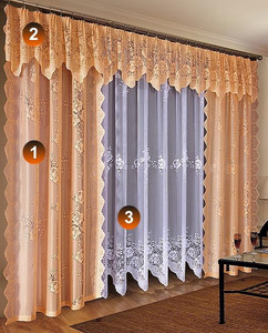 NET CURTAINS AND CURTAINS WITH VALANCES SOLD BY THE METRE, N86