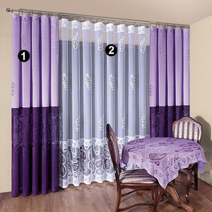 LIVING ROOM NET CURTAINS AND CURTAINS, FULL SET width 250 - 500 cm, N580