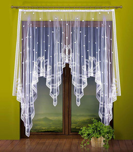 READY MADE WHITE JACQUARD NET CURTAIN width 180 cm, height 240 cm, N143
