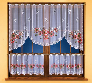 KITCHEN NET CURTAIN WITH CAFE CURTAINS width 250 cm, height 100 + 45 cm, N207