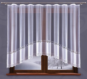 READY MADE WHITE JACQUARD NET CURTAIN width 300 cm, height 150 cm, N148